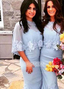 Two Pieces Slim Line Bridesmaid Dresses Cheap Prom Dresses With Lace Appliques
