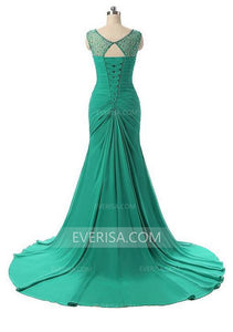 New Green Sweetheart Sleeveless Chiffon Evening Dresses Long Prom Dresses - EVERISA