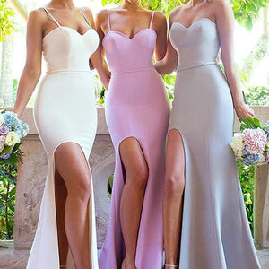 Sexy White Sweetheart Side Slit Floor-Length Satin Evening Dress Cheap Bridesmaid Dress