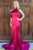 Rose Red Sleeveless Open Back Satin Prom Dress Long Evening Dresses With Ruffles
