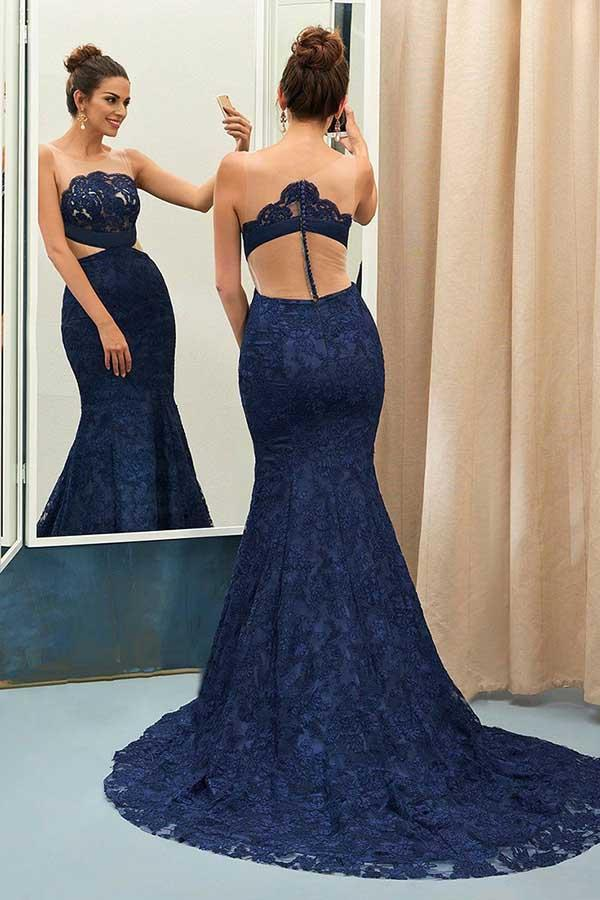 d18beca40d08 Navy Blue Sleeveless Lace Mermaid Prom Dresses Affordable Evening Dresses -  EVERISA