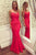 Red Sleeveless Cross Back Prom Dress Cheap Evening Dresses With Lace Appliques
