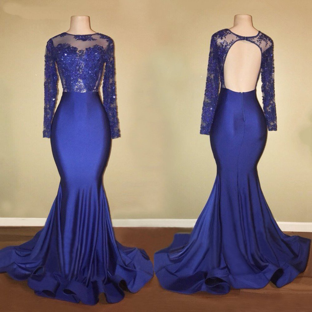 f24a96be1986 Long Sleeves Open Back Mermaid Prom Dresses Affordable Evening Dresses -  EVERISA
