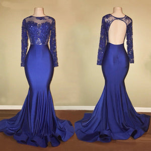 Long Sleeves Open Back Mermaid Prom Dresses Affordable Evening Dresses - EVERISA