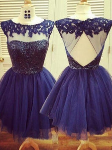 Blue Sleeveless Backless A Line Homecoming Dresses Short Cocktail Dresses - EVERISA