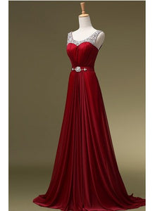 Burgundy Sleeveless A Line Prom Dresses Cheap Evening Dresses - EVERISA