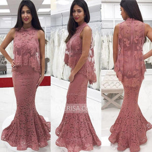 Dusty Pink High Neck Two Piece Prom Dresses Affordable Evening Dresses - EVERISA