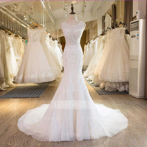 White Scoop Neck Sleeveless Beaded Wedding Dresses Mermaid Bridal Gown - EVERISA
