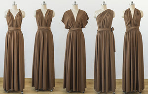 Brown Convertable Dress,Multiway Wrap Dress,Infinity Bridesmaids Dress - EVERISA
