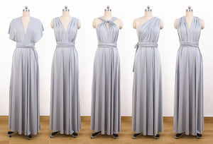 Grey Convertable Dress,Multiway Wrap Dress,Infinity Bridesmaids Dress - EVERISA