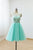Mint Green Scoop Neck A Line Prom Dresses Sleeveless Short Bridesmaid Dresses
