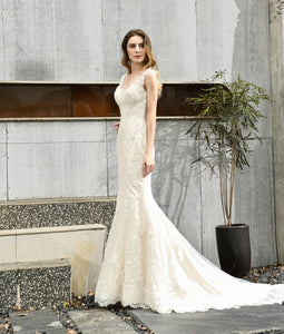 V Neck Sleeveless Open Back Mermaid Wedding Dresses With Lace Applique