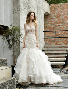 Sexy V Neck Sleeveless Wedding Dresses Mermaid Bridal Dresses