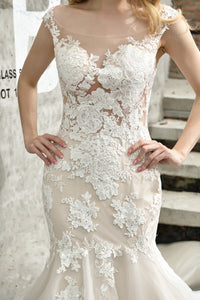 Cap Sleeve Lace Applique Wedding Dresses Mermaid Bridal Gown