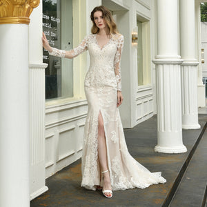 V Neck Long Sleeve Front Slit Wedding Dresses Lace Bridal Dress