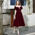 Burgundy V Neck Short Sleeve A Line Velvet Short Prom Dresses
