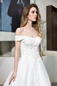 V Neck Off Shoulder Lace Applique Wedding Dresses Long Bridal Gown
