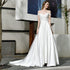Off Shoulder A Line Satin Wedding Dresses With Lace Applique
