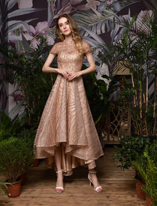 Rose Gold Cap Sleeve A Line High Low Gold spray Prom Dresses