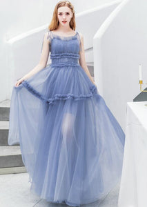 Spaghetti Straps Sleeveless A Line Prom Dresses Tulle Evening Dresses