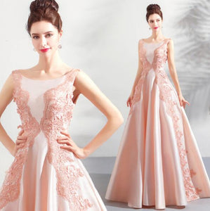Elegant Pink Sleeveless Lace Applique Prom Dresses Long Evening Dress