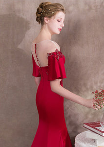 Red Pagoda Sleeve Mermaid Prom Dresses Lace Applique Evening Dress