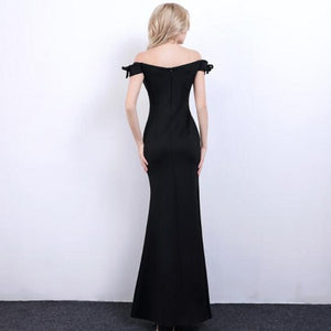 Black Off Shoulder Sleeveless Prom Dresses Side Slit Evening Dresses