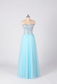 Unique Blue Sleeveless Tulle Long Prom Dresses A Line Evening Dresses