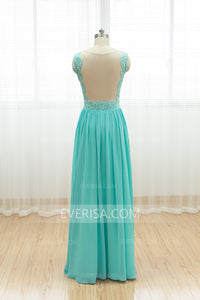 Fashion Blue Chiffon A Line Prom Dresses Beaded Lace Evening Dresses - EVERISA