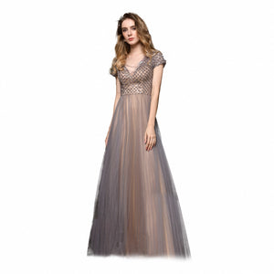 V Neck Short Sleeve A Line Tulle Prom Dresses Beaded Evening Dress