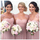 Elegant Pink Scoop Neck Floor-Length Chiffon Prom Dresses Affordable Bridesmaid Dresses