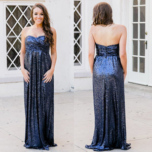 Unique Navy Blue Sweetheart Floor-Length Sequins Bridesmaid Dresses Prom dresses
