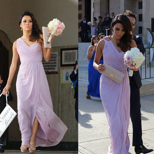 New Lilac One Shoulder Chiffon Prom Dresses Long Bridesmaid Dresses