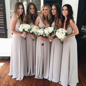 2018 Gray V Neck Floor Length Chiffon Bridesmaid Dresses Evening Dresses