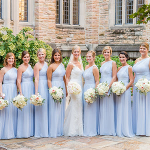 Elegant Pale Blue One Shoulder Floor-Length Chiffon Bridesmaid Dresses Evening Dresses