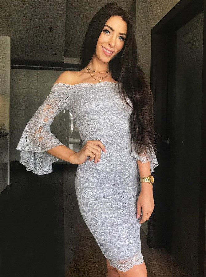 Grey Off Shoulder Bell Sleeves Short Prom Dresses Lace Party Dresses