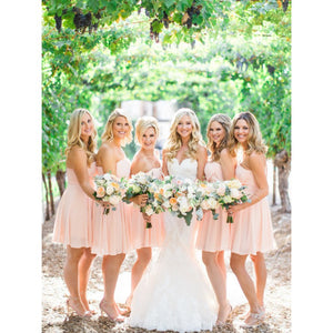 Cute Pink Sweetheart Knee Length Chiffon Bridesmaid Dress Cocktail Dresses