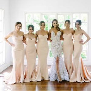 Elegant Champagne Sweetheart Mermaid Floor-Length Satin Prom Dresses Affordable Bridesmaid Dress