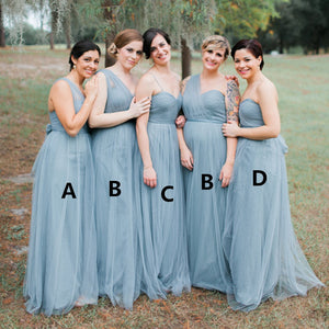 2018 Sky Blue Spaghetti Straps Floor-Length Tulle Bridesmaid Dresses Evening Dress
