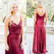 Custom Rosy V Neck Long Sequins Bridesmaides Dresses Affordable Prom Dress