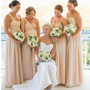 Simple Champagne One Shoulder Long Chiffon Prom Dresses Inexpensive Bridesmaid Dress