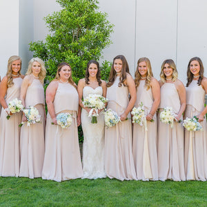 Unique Light Champagne Spaghetti Straps Floor-Length Chiffon Bridesmaid Dresses Prom Dress