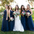 Chic Navy Blue V Neck Floor-Length Tulle Bridesmaid Dresses Prom Dress