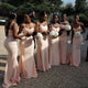 New Pink Empire Slim-line Floor-Length Satin Bridesmaid Dresses Evening Dresses