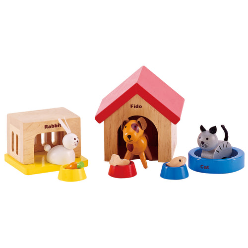 Hape - All seasons dollhouse family pet set