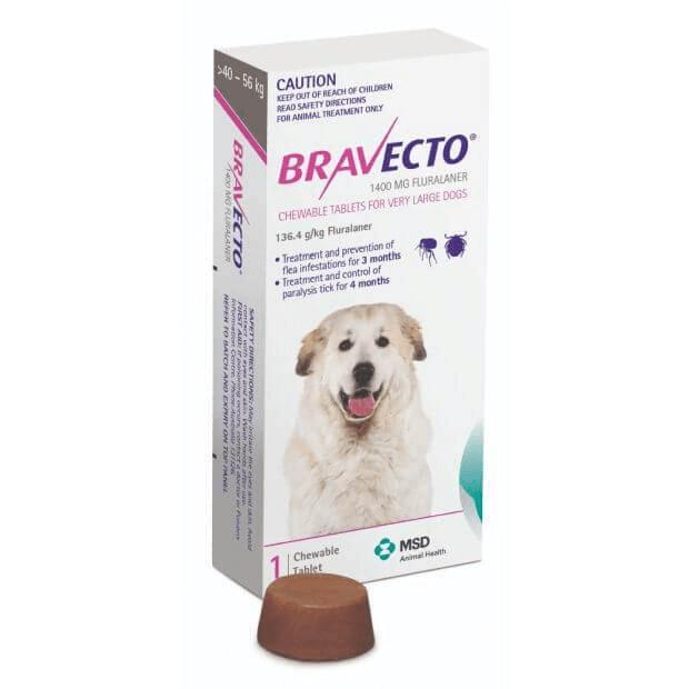 Bravecto Chews Very Large Dog (40-56kg) Purple / Pink 1 Pack - Epic Pet