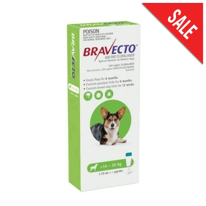 Bravecto Spot On Medium Dog (10 - 20kg) Green - Epic Pet