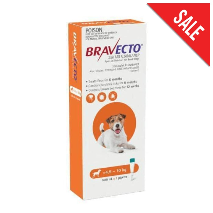 Bravecto Spot On Small Dog (4.5 - 10kg) Orange - Epic Pet