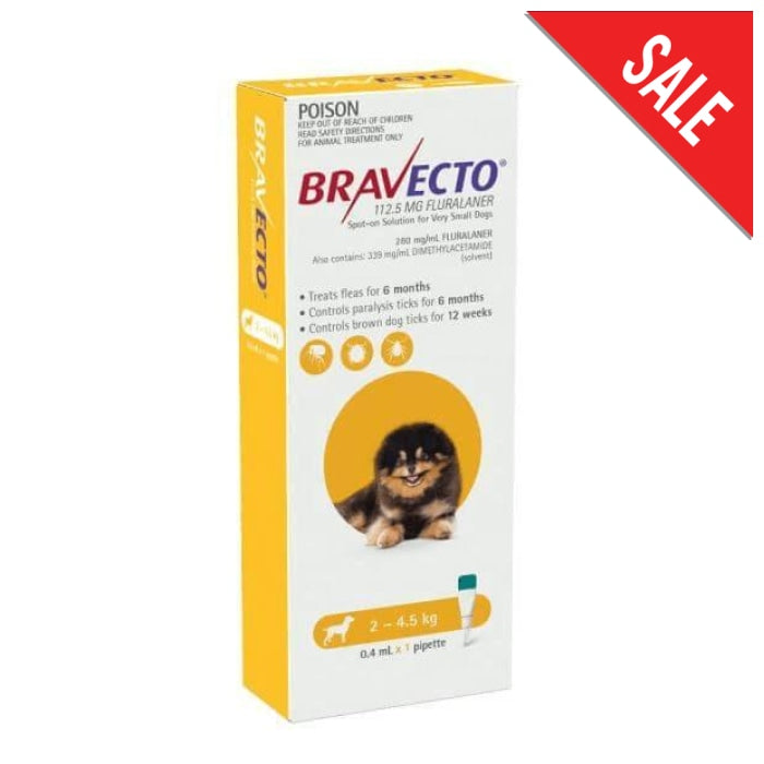 Bravecto Spot On Very Small Dog (2 - 4.5kg) Yellow - Epic Pet