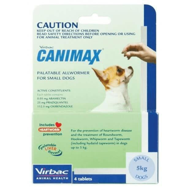 Canimax Allwormer for Small Dogs 5kg Green 4 pack - Epic Pet